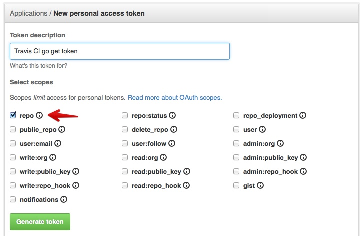 Screenshot of GitHub personal token